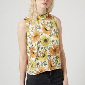 Topshop yellow floral mock neck tank top